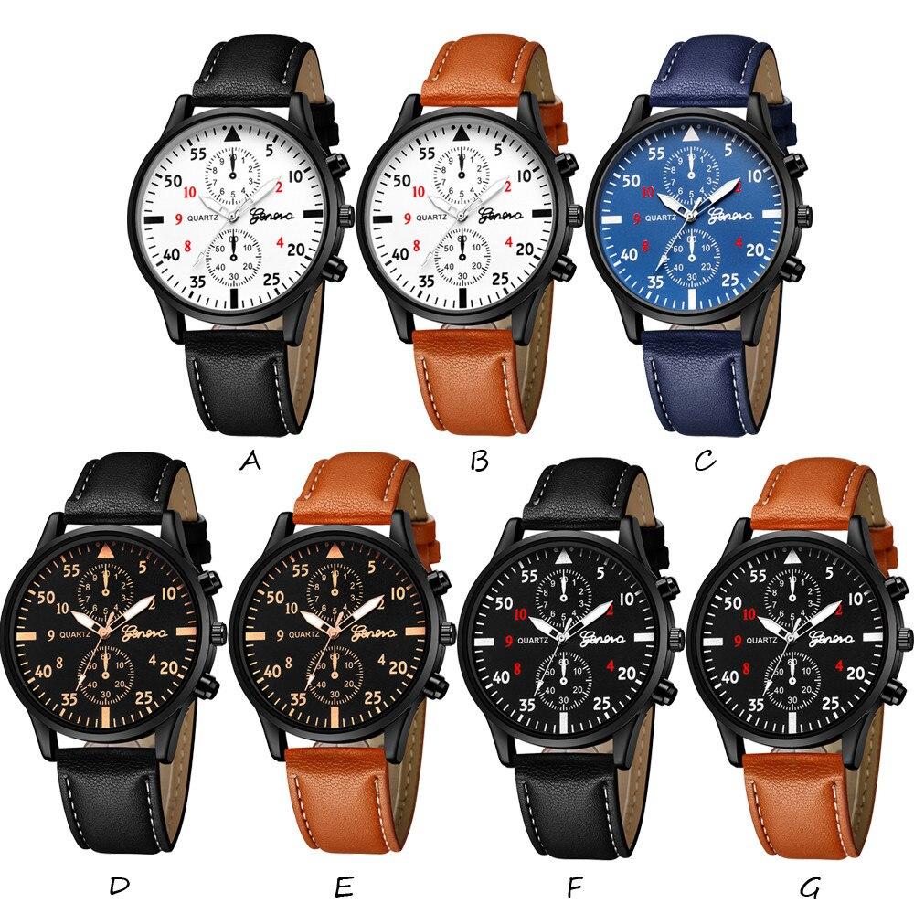 Fashion Men's Geneva Watch Leather Military Alloy Pointer Quartz Watch Business Multi Style Watch Gift часы мужские relogio 50*