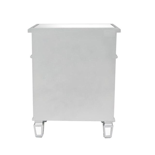 Mirror Surface Nightstand  w/1 Drawer  & 1 Door Side  3