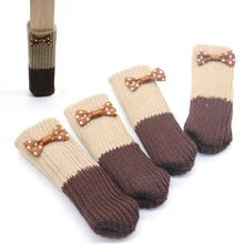 4 шт Пряжа Вязание стул ноги носки мебель Противоскользящий пол защитный чехол с цветком розетка домашний декор 10*3,5 см