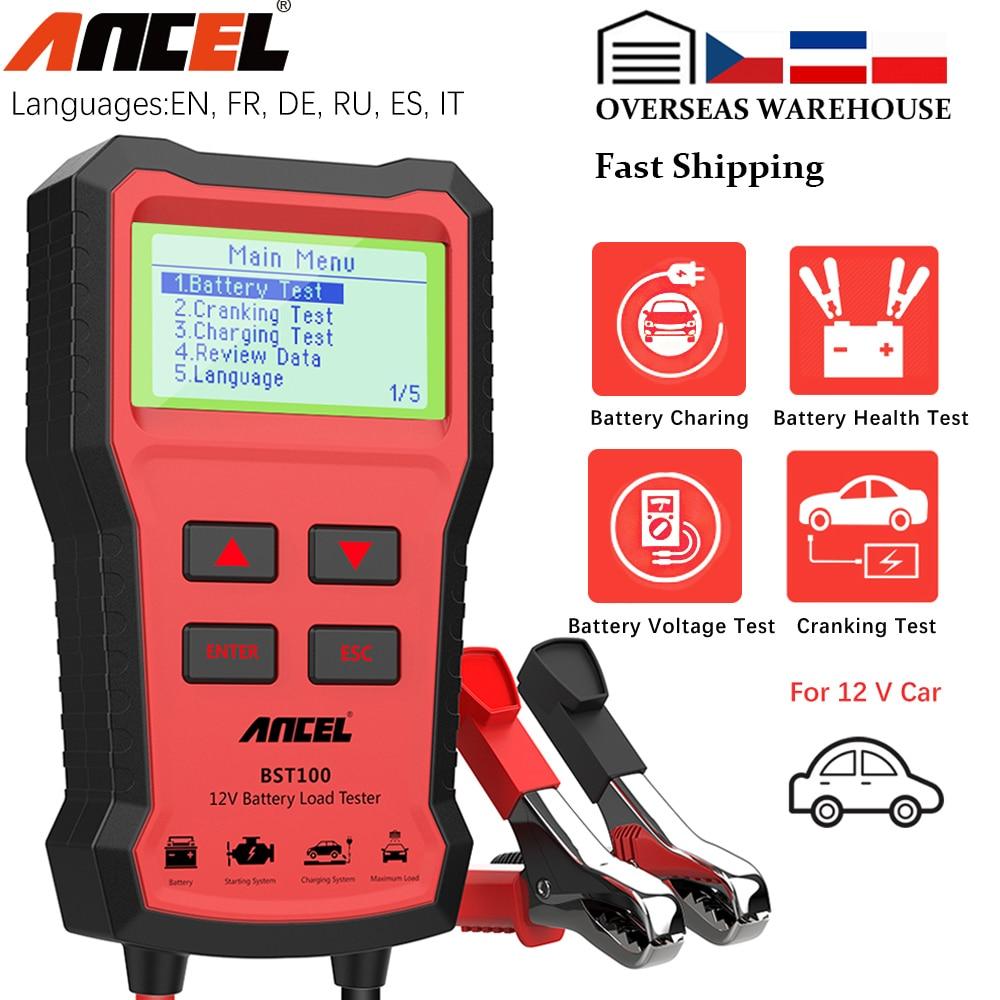 ANCEL BST100 سيارة جهاز اختبار بطارية شاحن محلل 12 فولت 2000CCA الجهد بطارية اختبار جهاز اختبار بطارية السيارة شحن أدوات تحميل الكريكيت