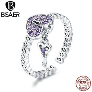 Image 3 - Hot Sale BISAER Purple Crystal Original 925 Sterling Silver Ring Love Heart Infinity Finger Rings for Women Engagement Jewelry