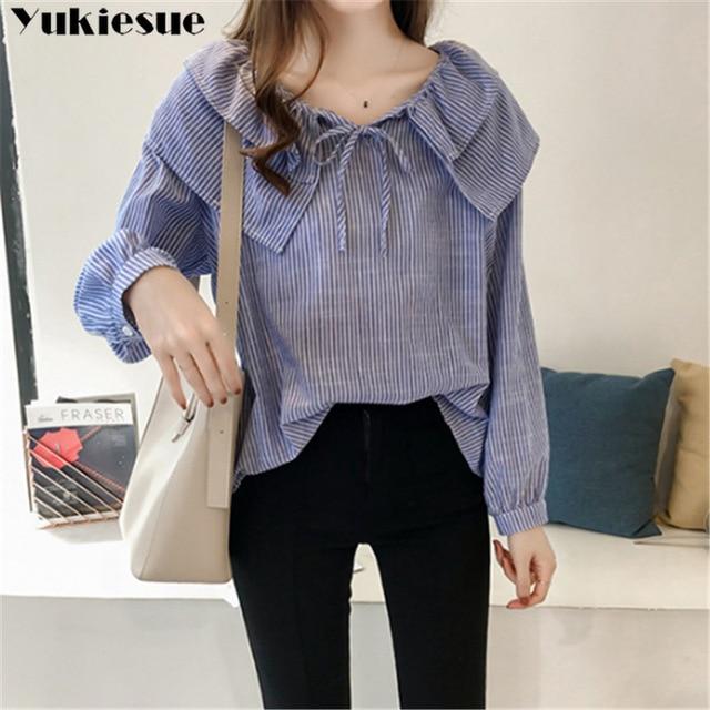 woman blouses long sleeve ruffless striped summer women's shirt blouse for women blusas womens tops and blouses chiffon shirts 1