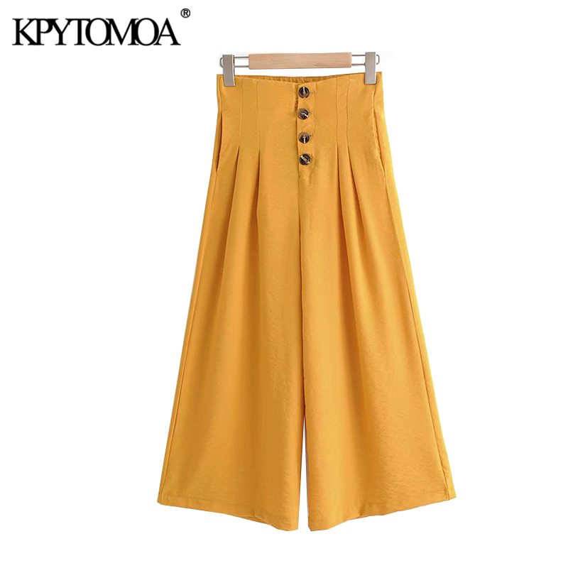 KPYTOMOA Women 2020 Chic Fashion High Waist Wide Leg Pants Vintage Pockets Buttons Fly Female Ankle Trousers Pantalones Mujer