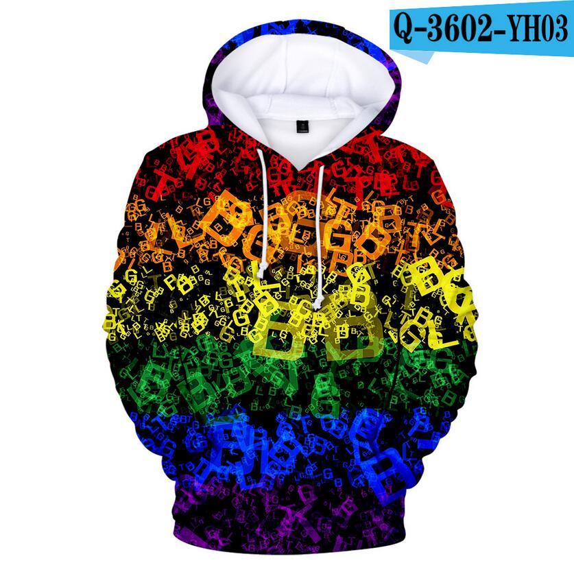 Colorful Rainbow LGBT Hoodies Sweatshirt Men Women For Lesbian Gay Pride LGBT Hoodie Fashion Casual Pullover Hooded Sweatshirts 9