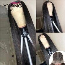 Perruque Lace Wig Remy brésilienne lisse – YYong, cheveux naturels, 13x1t, partie centrale, 120% de densité
