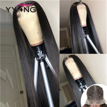 YYong-Peluca de malla con división profunda 13x1x6 T, cabello humano transparente, parte de encaje, Remy, brasileño, liso, 120%