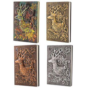 Creativo ciervo en relieve A5 cuaderno de cuero Bloc de notas viaje planificador diario libro escuela Oficina suministros