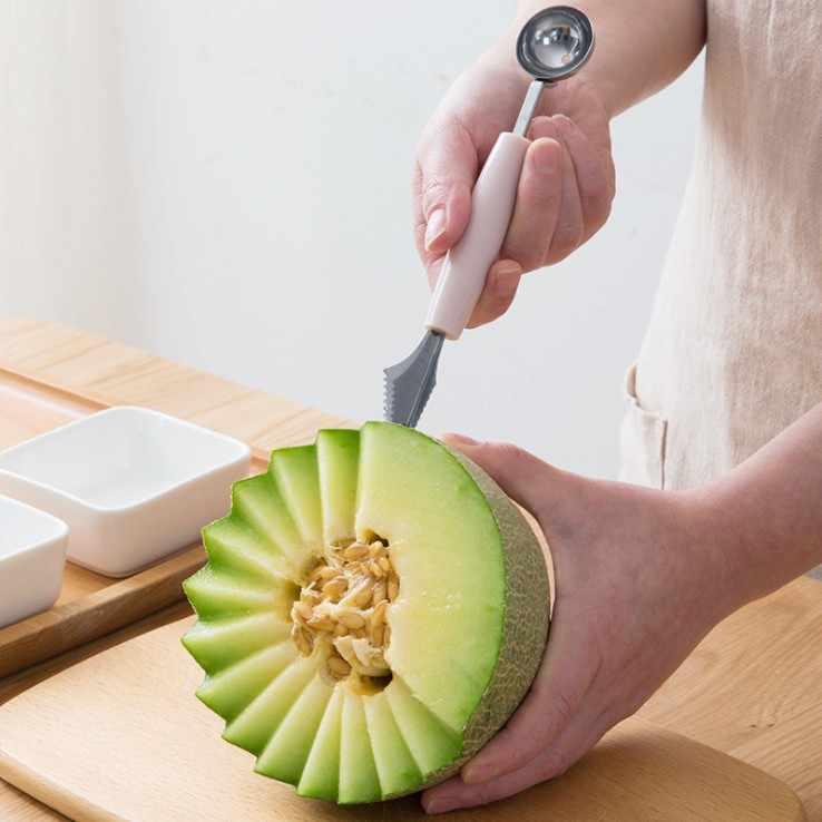 ERMAKOVA 2 In 1 Melon Baller Scoop ผลไม้แกะสลักมีด Multi-functional KITCHEN Peeler ผลไม้เครื่องตัดรูปร่างเครื่องมือแกะสลัก