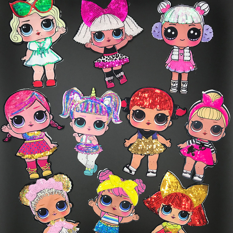 Anime LOL Doll Sequins Patches Figure Toys Lovely Fashion LOL Suprise DIY Embroidery Patch Decoration Girls Funny Toys Gifts