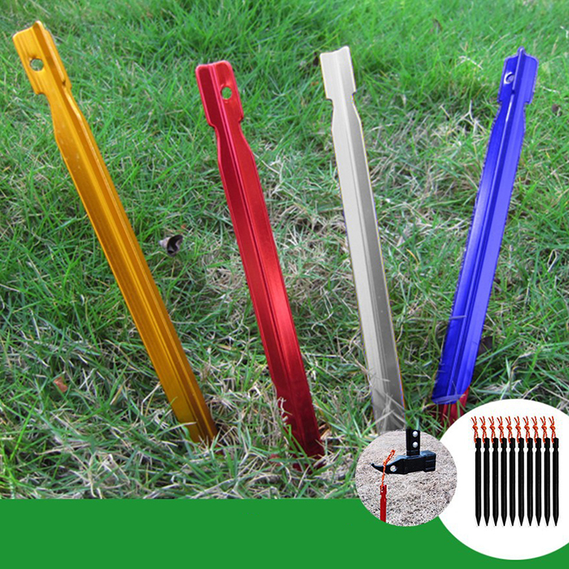 Outdoor Tent Nail Peg Tent Accessories 10 Pieces Pegs 18cm Aluminum Tent Stake With Rope Equipment