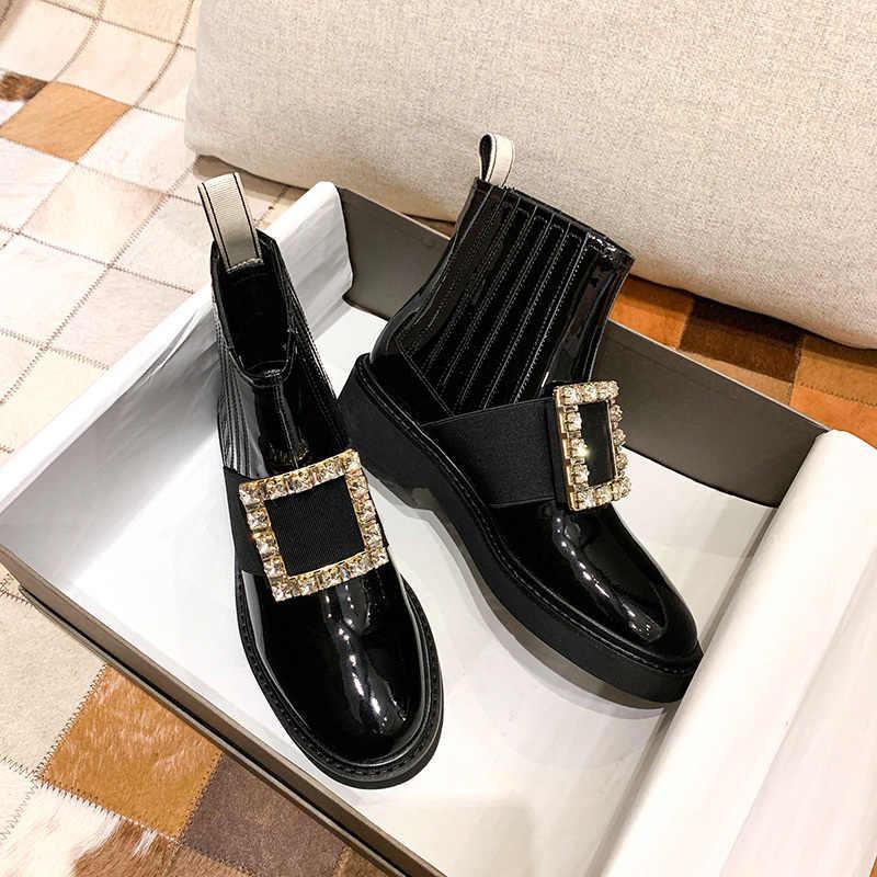 Botas Chelsea Botas De Mujer De tacón bajo Botas De tobillo deslizantes en los Zapatos De primavera Botas Mujer diamantes De imitación Botas femeninas cómodos Zapatos De Mujer