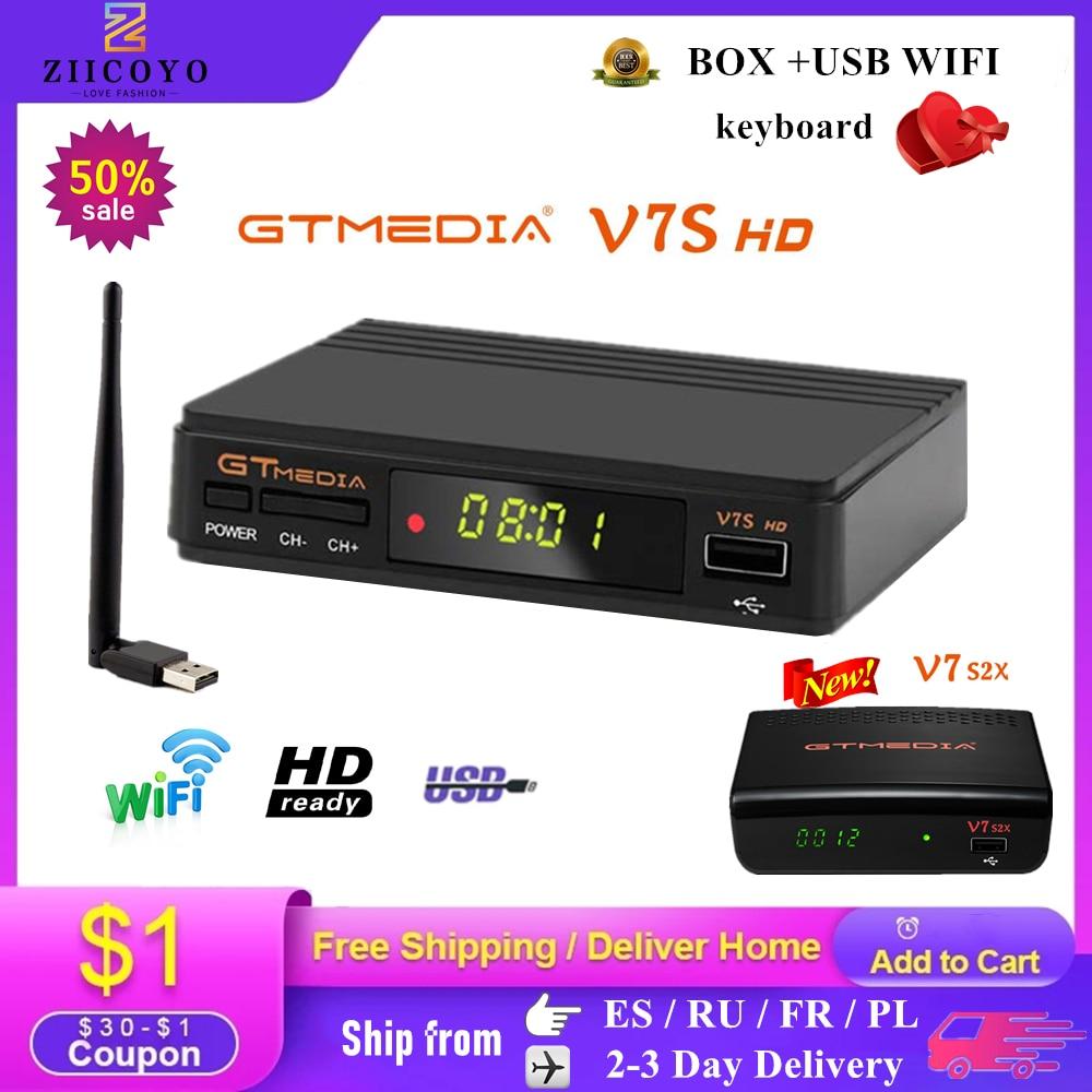 DVB-S2 Gtmedia V7 S2X спутниковый декодер 1080P DVB-S2 обновлен Gtmedia V7S HD включают в себя USB Wi-Fi, H.265 ТВ-приставка Freesat v7 без приложения