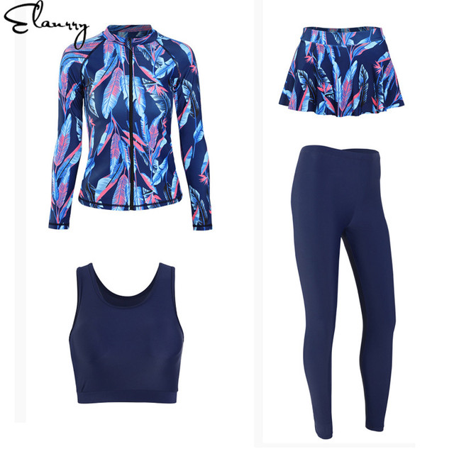 Women long sleeves summer sufing suit summer 4 pieces print rashguards femmale padded bathing suits sexy zipper sport swimwear