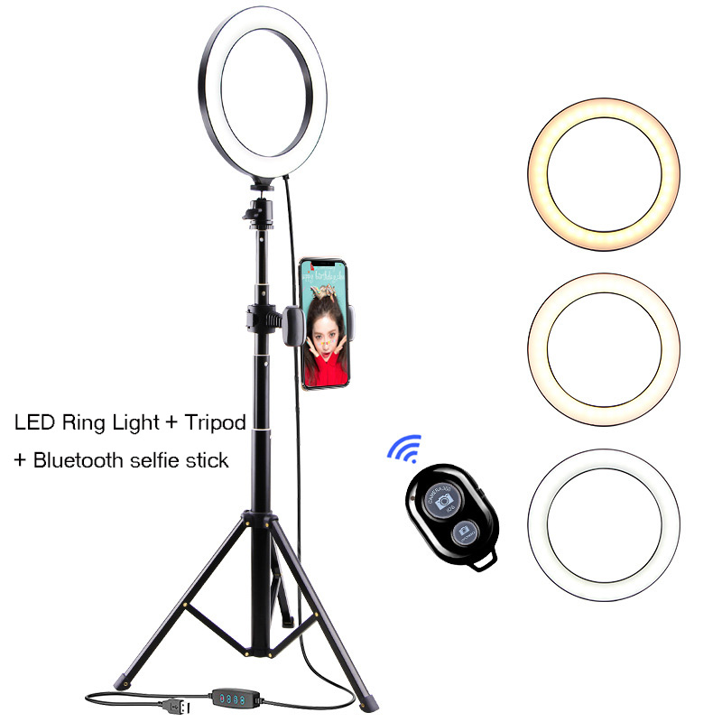 10inch Dimmable LED Ring Light   Tripod Bluetooth selfie stick selfie ring light with cell phone holde Video Live Makeup beauty
