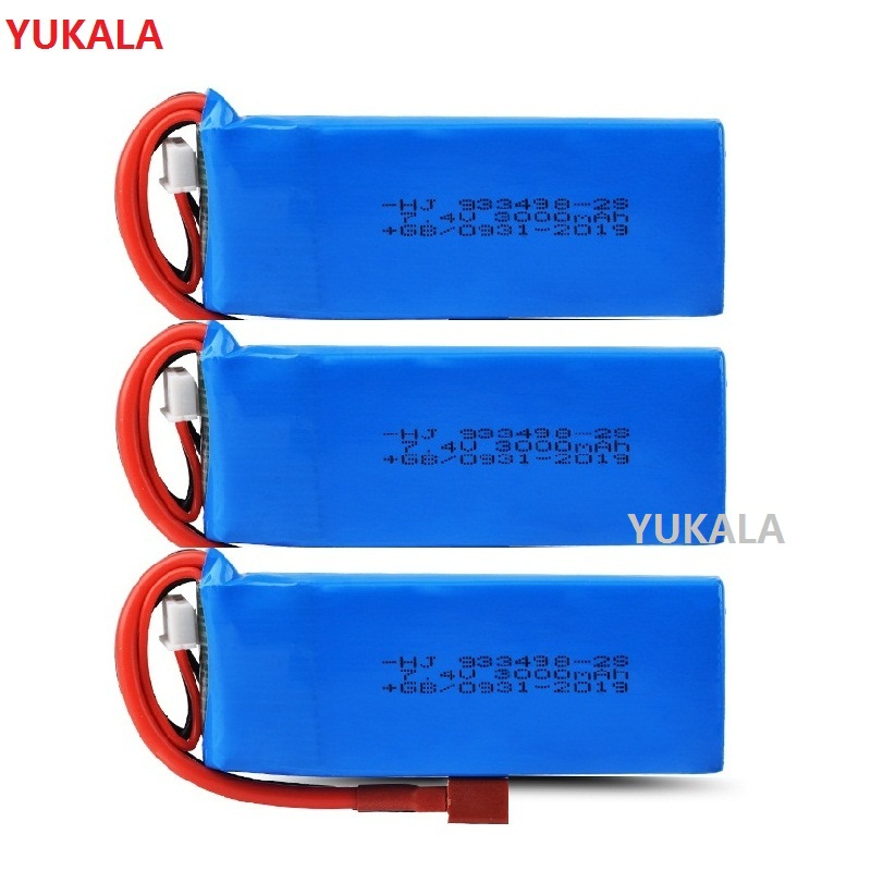 YUKALA Wltoys 144001 <font><b>7.4V</b></font> <font><b>3000mAh</b></font> Upgrade large <font><b>Lipo</b></font> <font><b>Battery</b></font>/charger RC Car Spare Parts image