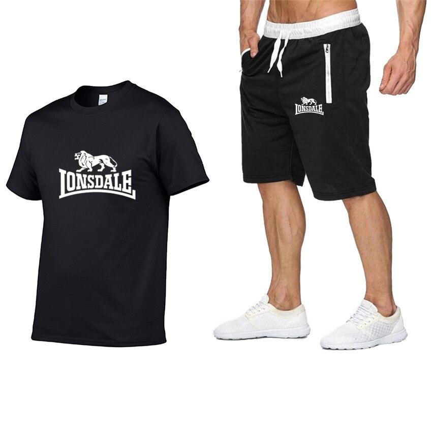 Summer Men Sportswear Sets Short Sleeve T-shirts + Shorts New Fashion Casual Men Sets Shorts + 2 Piece T-shirts