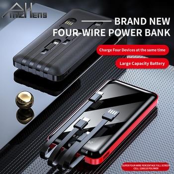 PINZHENG 20000mAh Portable Power Bank Full Screen Built-in 4 Cables Powerbank Fast Charging External Battery For iPhone Xiaomi