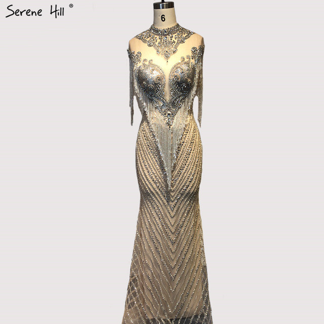 Dubai Beading Tassel Luxury Sexy Evening Dresses 2020 Silver Sleeveless High end Evening Gowns Serene Hill LA60811