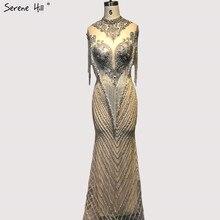 Dubaj koralikowe frędzelki luksusowe seksowne suknie wieczorowe 2020 srebrne bez rękawów wysokiej klasy suknie wieczorowe Serene Hill LA60811