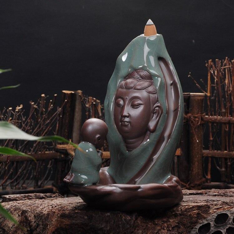 Guanyin haute qualité Geyao retour brûleur d'encens cadeau créatif Dharma Guanyin culte garçon Dehua en céramique décoration de la maison zen