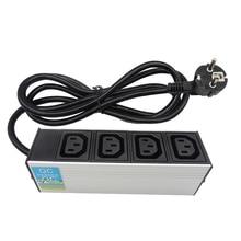 C13 Bảo Vệ Quá Tải Công Nghiệp Nối Dài 2M Ổ Cắm 4 Ổ Cắm Điện Phích Cắm EU 16A 250V Hợp Kim Nhôm PDU Điện dây