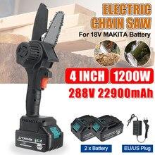 288vf 1200w 4 Polegada mini serra elétrica recarregável carpintaria purning jardim log ferramentas elétricas adaptar a bateria makita