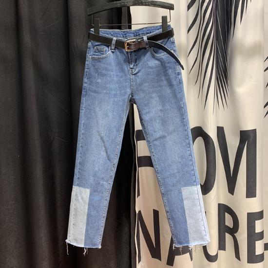 High-Waist Straight Jeans Woman Fashion Spell Color Jeans Women's 2020 Spring New Slim-Fit Fur Trim Blue Denim Pants Jean Femme