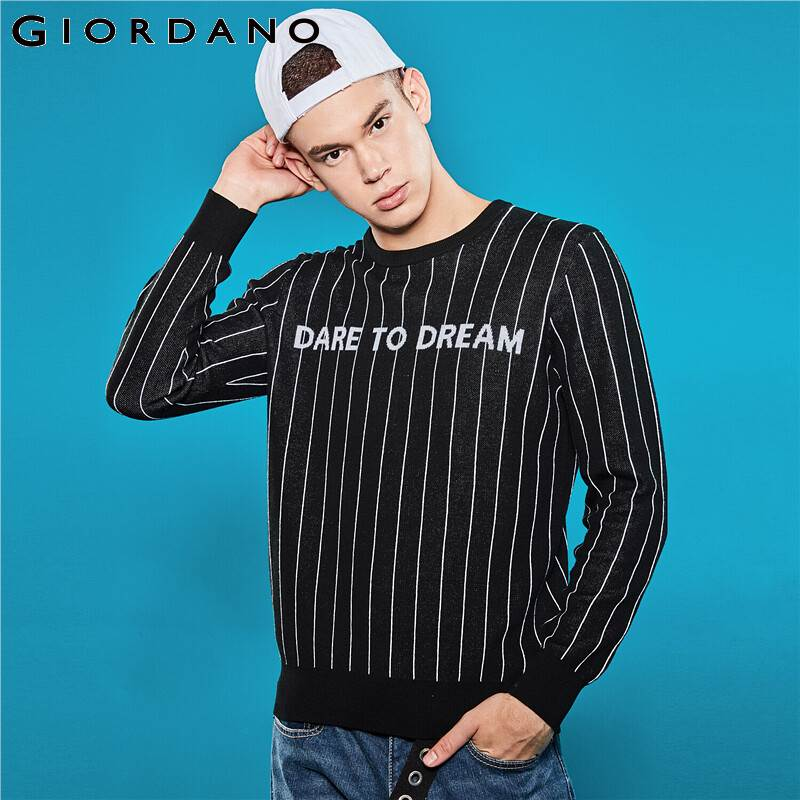 Giordano Men Sweaters Positive Letter Stripe Long-sleeve Pullover Men 12 Needle Knitted Crewneck Chompas Para Hombre 01059856
