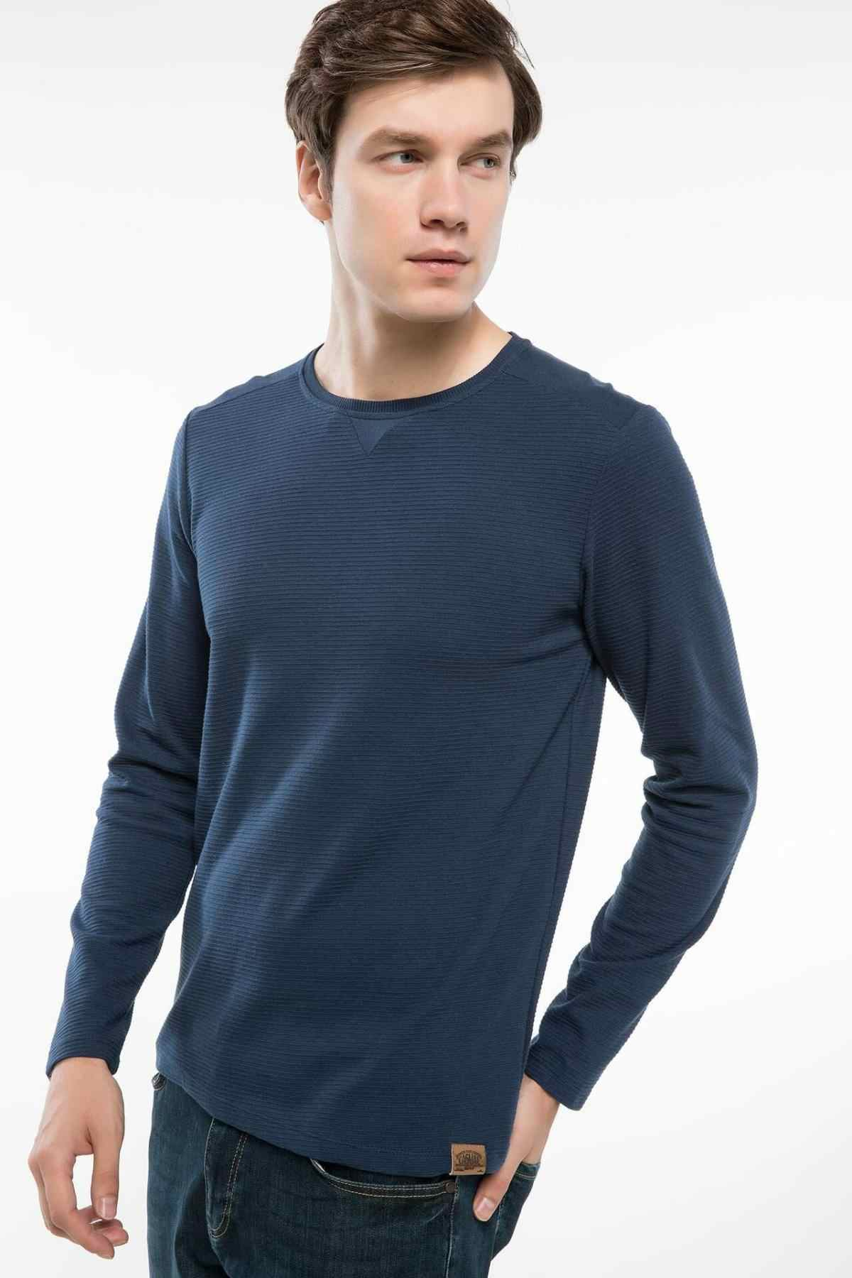 DeFacto Men Basic Cotton Knitted Sweatshirt White Black All Match Long Sleeve Casual Shirts for Autumn-H3314AZ18AU
