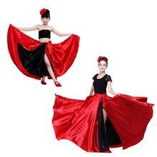 Vermelho preto cetim sólido espanhol flamenco saia rendas até trajes de dança feminino 360-720 graus meninas de salão de baile mãe filha vestido