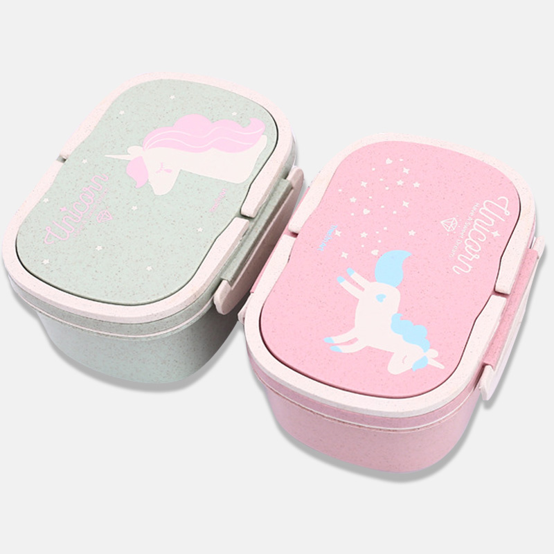 Unicorn Bento Boxes Eco-Friendly Portable Healthy Lunch Box For Kids Food Storage Container Dinnerware Food Box