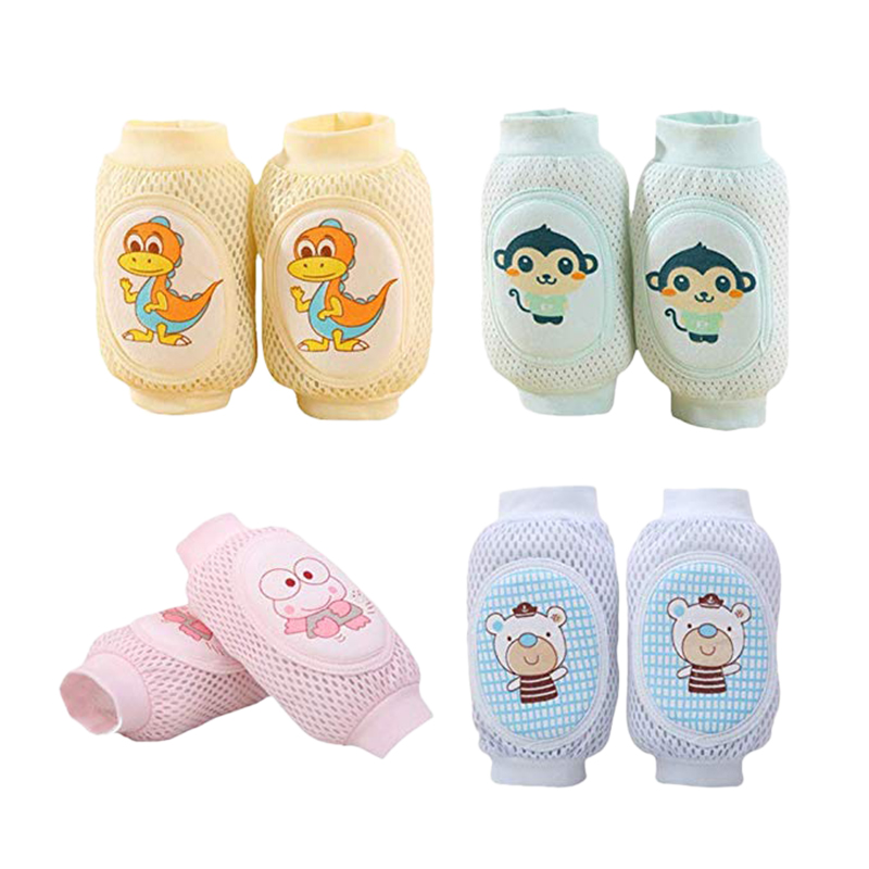 4 Pairs Baby Crawling Anti-Slip Baby Crawling Knee Pads Multiple Cartons Summer Adjustable Breathable Protector
