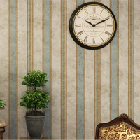beibehang Retro nostalgic old vertical bar American country style living room bedroom study Chinese style striped wallpaper