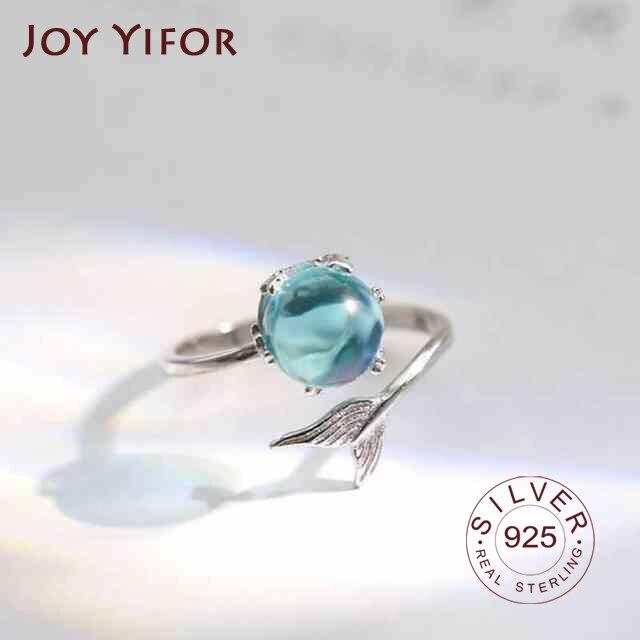Anillo de Plata de Ley 925 con diseño de sirena, anillo abierto de cristal azul, con burbujas, para mujeres y niñas
