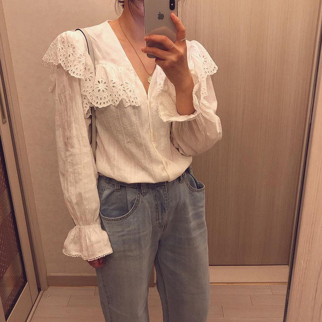 SLLSKY 2020 Spring Lady's Lace Patchwork Sweet White Blouse Women Blouses Long Sleeve Elegant Top Women's top Casual Shirts 2