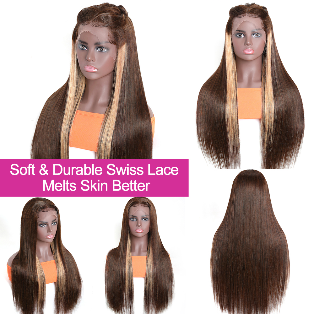 Nadula Hair Straight Lace Front  Wigs 13x4 Ombre Honey Blonde Straight Hair Wigs for Black Women Pre plucked  Hair 3
