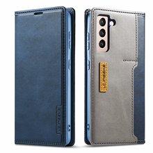 Folio kılıf Samsung S21 Ultra Vintage Flip deri cüzdan kılıf manyetik TPU geri telefon kapak Samsung Galaxy için S21 artı S21
