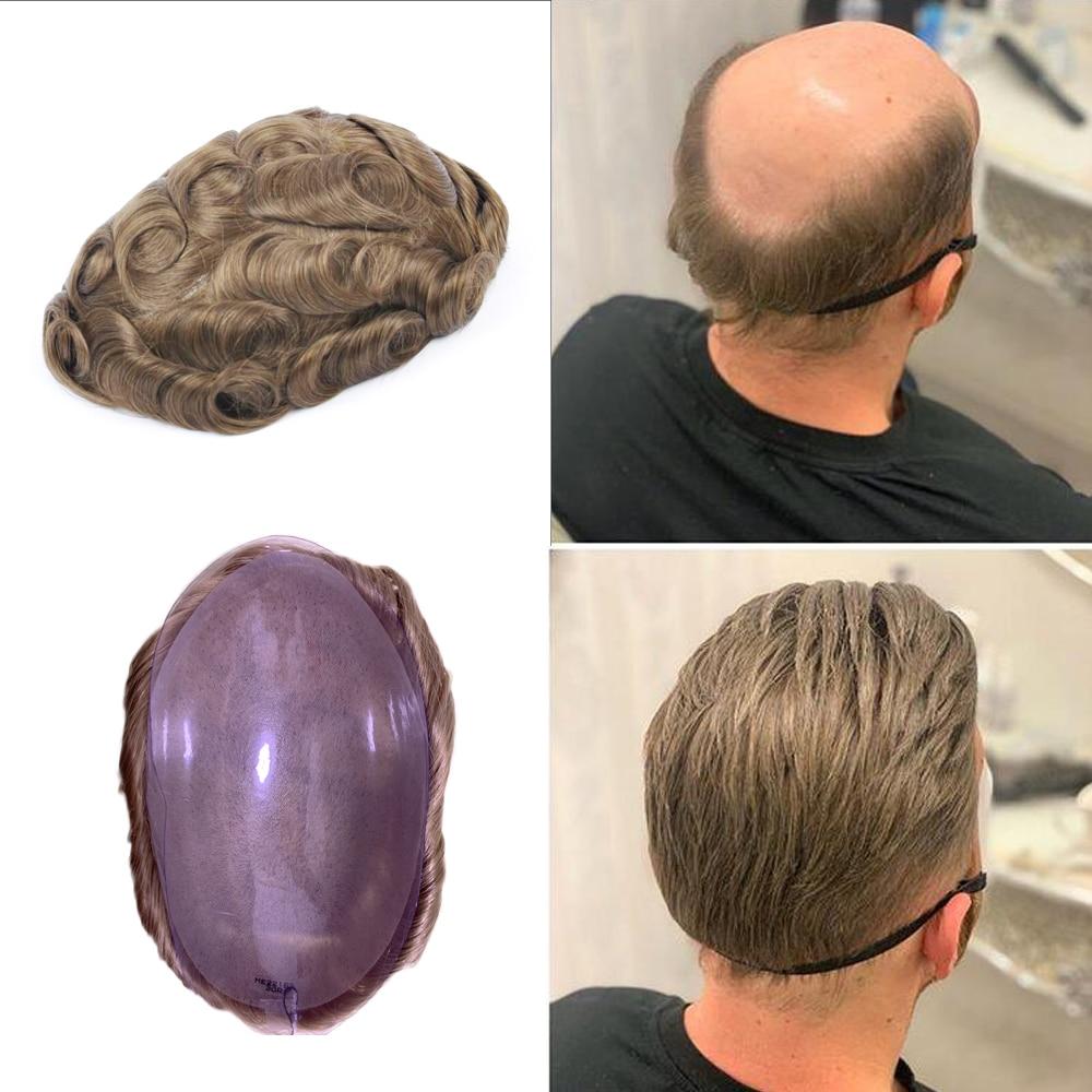 BYMC Men's Toupee Blonde Color 10x8 6X8 Inch Full Lace 0.04mm Super Soft Thin Skin European Remy Human Hair Toupee Men
