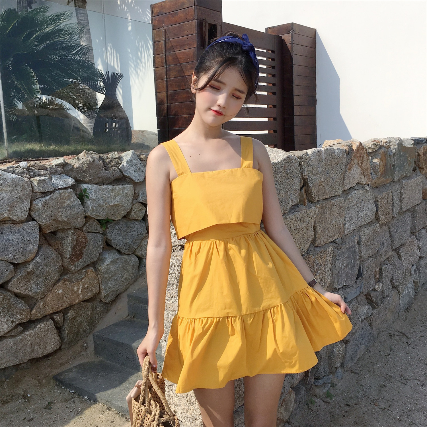 Photo Shoot Solid Color Vacation Style Back Tied Bow Backless Sleeveless Small Dress Beach One-piece Dress