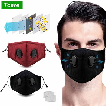 Tcare Double Valve PM2.5 Mouth Mask With 2 Replaceable Filters Mask Anti Dust Anti Pollution Protective Breathable Face Mask