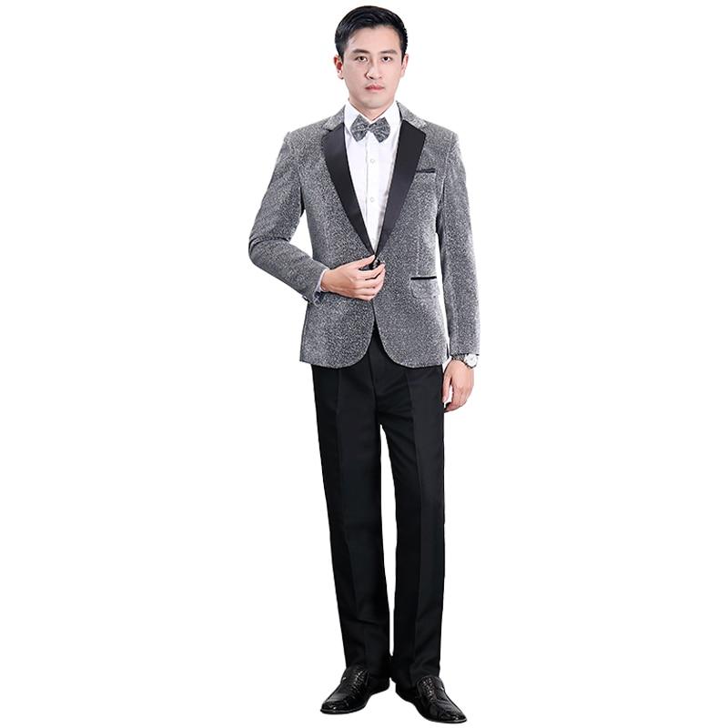 2020 New Men's Silver Sequin Suit Suit Wedding Groom Costume Night Club Party Dance Singer Slim Jacket Pants