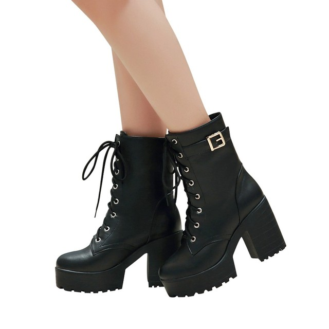 Women Boots Leisure High heels Shoes 2019 Autumn New Thick Heel Ankle Boots High Heel Boots Thick Bottom Lace Up Womens Boots