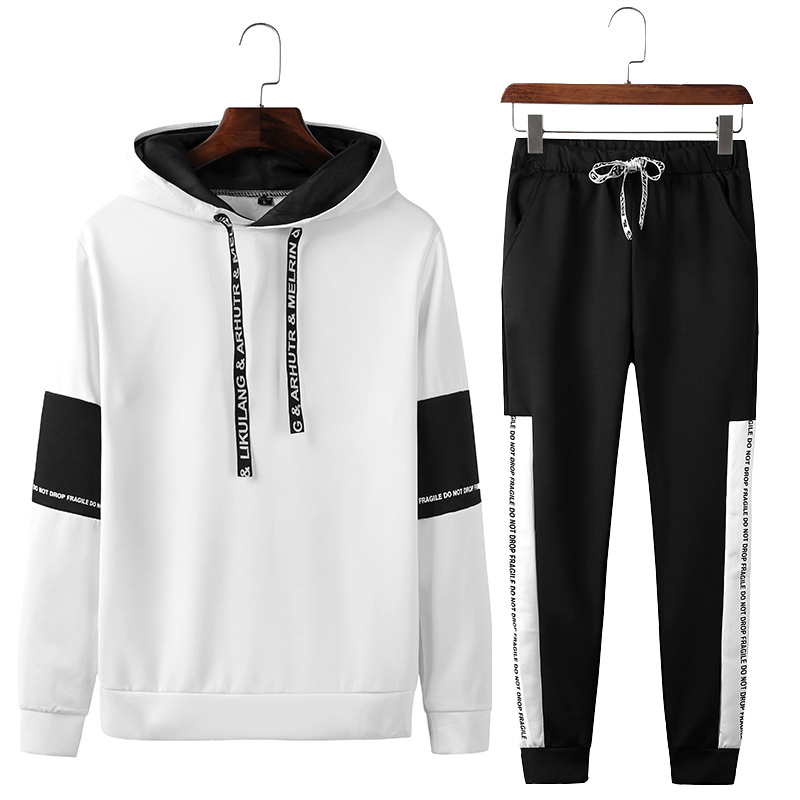 2019 New Style Spring And Autumn Casual Men'S Wear Hoodie Set Casual Sports Pants Long Sleeve Pullover Mixed Colors Two-Piece Se