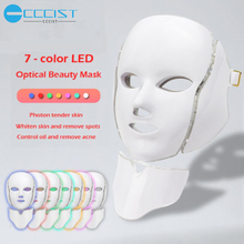 CCCIST  7 Colors Light Beauty Photon LED Facial Mask Therapy Skin Care Rejuvenation Wrinkle Acne Removal Face Neck Beauty Spa 7 colors led light therapy mask photon led therapy facial mask beauty spa skin rejuvenation wrinkle acne remover face care tool