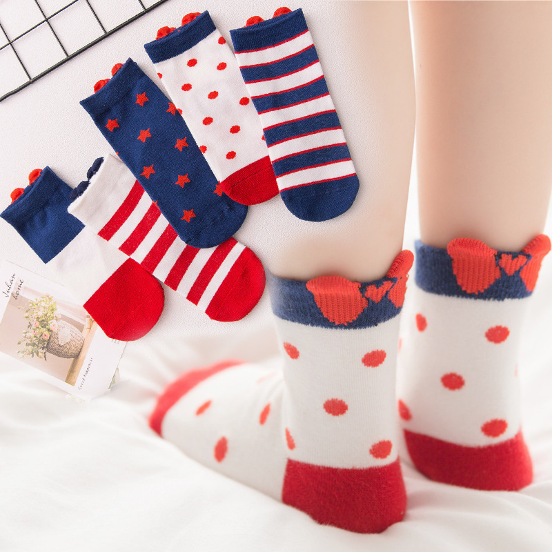 5 Pairs/Lot Kids Autumn Winter Warm Socks Cute Toddler Girls Bow Print Cotton Socks Children Breathable Socks For 1-12 Y