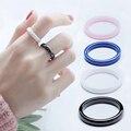 Женские керамические кольца, 3 мм, синие, розовые, черные, белые тонкие минималистичные простые гладкие блестящие кольца, размеры 6, 7, 8, 9, не в...