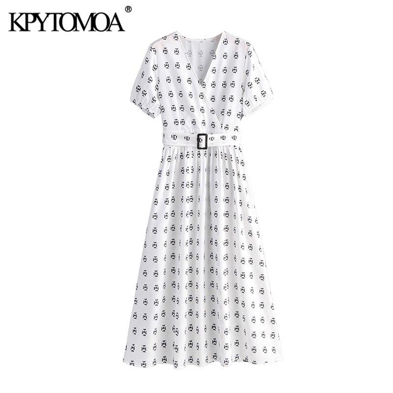 Vintage Elegant Print With Belt Midi Dress Women 2020 Fashion V Neck Short Sleeve Office Wear Female Dresses Vestidos Mujer