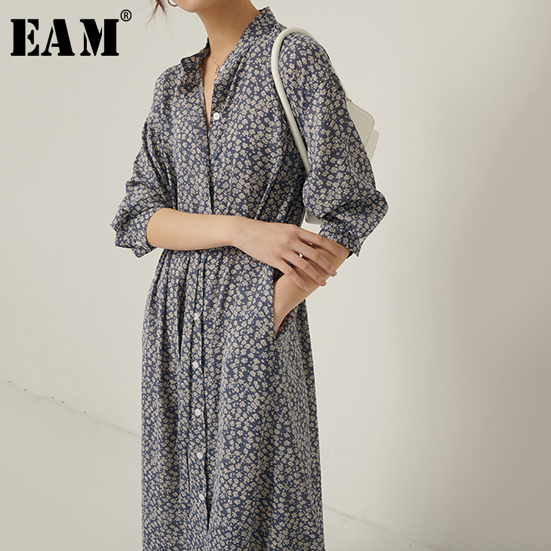 [EAM] Women Blue Pattern Printed Big Size Chiffon Dress New  Stand Collar Long Sleeve Loose Fit Fashion Spring Autumn 2020 1S320