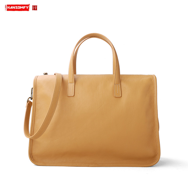 Genuine Leather Bag Women Handbag 14 Inch Laptop Bag Business Commuter Female Briefcase Large Capacity Ladies Shoulder Bag 2020