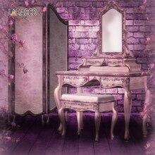 Laeacco ściana z cegły ekran toaletka krzesło fotografia tła dziewczyna pokój wystrój wnętrz zdjęcie tło do zdjęć Studio